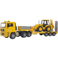 Bruder MAN TGA Low Loader Truck with JCB 4CX Backhoe Loader