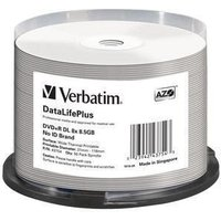 Verbatim DVD+R 8.5GB DL 240min DataLife+ thermal fullprintable non-ID 8x 50er Cakebox