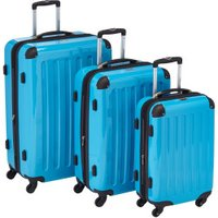 Hauptstadtkoffer 4-Wheel Hard Shell Trolley Set 3-Piece 55/63/75cm cyan blue TSA