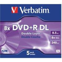 Verbatim DVD+R DL 8,5GB 240min 8x Matt Silver 5pk Jewel Case