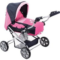 Bayer-Chic Combi Doll's Pram Pink Checker