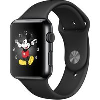 Apple Watch 42mm Stainless Steel, Black Sport Band