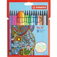 Stabilo Pen 68 Fibre Tip Coloring Pens Pack of 18