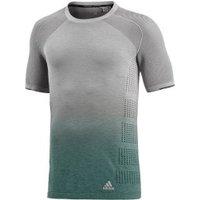 Adidas Primeknit Wool Dip-Dye T-Shirt medium grey heather solid grey/trace green