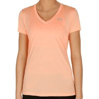 Under Armour Women T-Shirt V-Neck UA Twist Tech playful peach