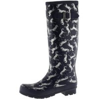 Joules Welly Print navy scribbly horse