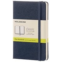 Moleskine Classic Plain Paper Notebook, Hard Cover and Elastic Closure Journal, Colour Sapphire Blue, Size Pocket 9 x 14 A6, 192 Pages