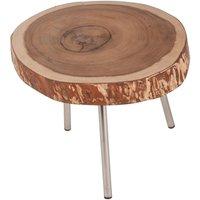 SIT Couchtisch natur/Gestell silbern 55x55x43cm Plattescheibe/Gestell Metall (7996-05)