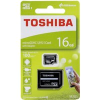 Toshiba 16GB M203 MicroSD Class 10 U1 100MBs with Adapter, Black