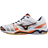 Mizuno Wave Stealth 4 white/blue depths/orange clown fish