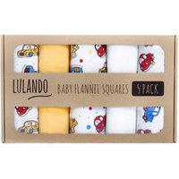 Lulando Baby Flannel Squares 5 Pack (70x80cm) Cars White/Yellow