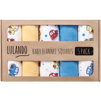Lulando Baby Flannel Squares 5 Pack (70x80cm) Cars Yellow/Blue