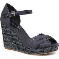 Tommy Jeans Iconic Elena Metallic Canvas Wedge Sandal - Light Grey
