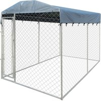 VidaXL Outdoor Dog Kennel with Canopy