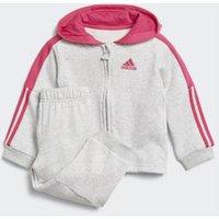 Adidas Logo Hooded Fleece Jogging Suit Youth light grey heather / real magenta