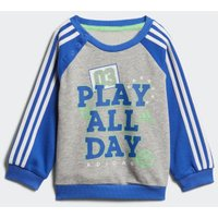 Adidas Graphic French Terry Jogging Suit medium grey heather / blue / white / energy green