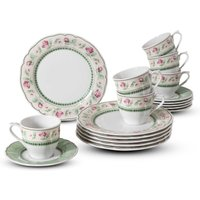 CreaTable Porcelain coffee service, 18 parts, FLORA JUST ROSES, green / white / red