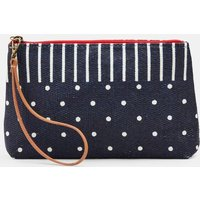 Navy Spot Stripe Como Clutch Bag  Size One Size