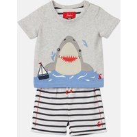 Navy Stripe Shark Wave Applique Top And Shorts Set  Size 3M-6M