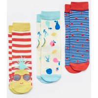 Coral Stripe Pineapple Brilliant Bamboo Socks Three Pack  Size Childrens 9-12
