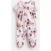 Pink Marl Skelwith Olive Printed Jumpsuit Set  Size 3M-6M