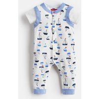 WHITE DRAWN BOATS Saylor Jersey Babygrow And t-Shirt Set  Size 3m-6m