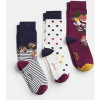 Purple Multi Floral Brilliant Bamboo 3 Pk Socks  Size Adult 4-8