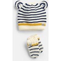 Cream Navy Stripe Cute Hat And Mitten Set  Size 0M-6M