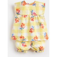 Yellow Gingham Floral Edith Woven Top And Shorts Set  Size 9M-12M