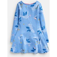 Blue Dino Floral Erin Long Sleeve  Skater Dress 3-12 Years  Size 7Yr-8Yr