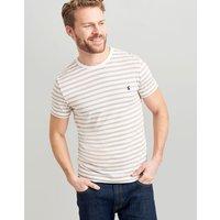 Cream Brown Stripe Boathouse Tee Striped Crew Neck T-Shirt  Size M