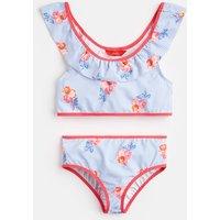 BLUE FLORAL STRIPE Nyree Ruffle Bikini Set 1-12Yr  Size 7yr-8yr