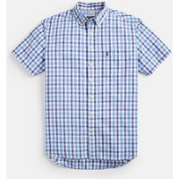 Blue Gingham 205433 Short Sleeve Classic Fit Shirt  Size L