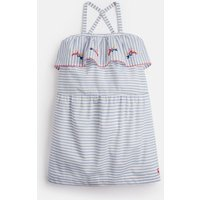 White Blue Stripe May Cross Over Back Dress 3-12 Yr  Size 9Yr-10Yr