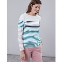 Cream Navy Multi Stripe Harbour Long Sleeve Jersey Top  Size 12