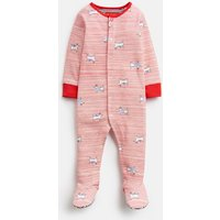 RED DOG STRIPE 203981 All Over Print Babygrow with Feet  Size 9m-12m