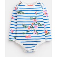 White Stripe Floral Snazzy Jersey Printed Bodysuit  Size 6M-9M