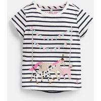 Cream Stripe Animals Astra Applique T-Shirt 3-12 Years  Size 7Yr-8Yr