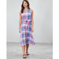 Pink Check Fiona Sleeveless Woven Dress With Tie Detail  Size 8