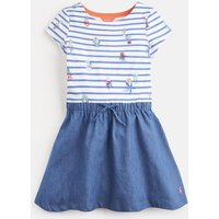 CREAM BLUE PLANT STRIPE Karolina Short Sleeve Dress 3-12yr  Size 7yr-8yr
