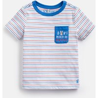 Cream Multi Stripe Mischief Pocket Artwork T-Shirt 1-6 Years  Size 4Yr