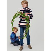 NAVY CREAM MULTI STRIPE Woozle HALF ZIP FLEECE 1-12yr  Size 7yr-8yr