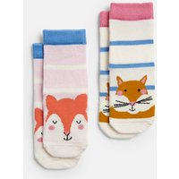 Multi Fox Squirrel Neat Feet 2 Pack Character Socks  Size 12M-24M