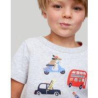GREY TRANSPORT ANIMALS Archie APPLIQUE T-SHIRT 1-6yr  Size 2yr