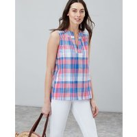 Pink Check Juliette Sleeveless V Neck Top  Size 16