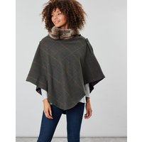 Dark Green Grid Tweed Hazelwood Tweed Poncho With Faux Fur Collar