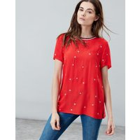 Red Star Eliza Embroidered Woven T Shirt With Rainbow Trim Detail  Size 14
