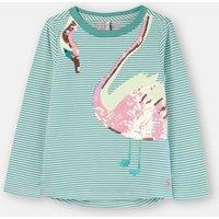 Green Stripe Swan Ava Applique T-Shirt 3-12 Years  Size 9Yr-10Yr