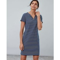NAVY CREAM STRIPE Riviera notch neck Notch Neck Jersey Dress  Size 12