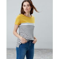 Gold Block Stripe Nessa Stripe Lightweight Jersey T-Shirt  Size 10